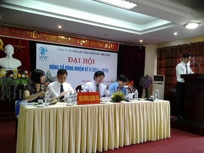 Công ty cổ phần cấp thoát nước số 1 Vĩnh Phúc tổ chức Đại hội đồng Cổ đông nhiệm kỳ II (2014 – 2019)